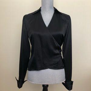 Ann Taylor | Black Silk Long Sleeve Wrap Blouse